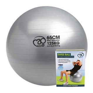 FITNESS MAD 125Kg anti-burst Swiss Gym Ball 65cm (1.0kg) with pump grey