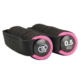 FITNESS MAD Fitness Mad Dumbbell set 1kg 2x0.5kg Pro Aerobic dumbbells paar met handvat 2x0.5kg soft grip Zwart Roze