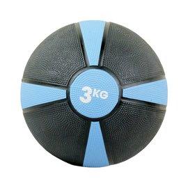 FITNESS MAD Medicine Ball Rubber Waterproof 3 Kg (22cm) Zwart Blauw