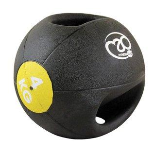 FITNESS MAD Medicine Ball Double grip uit een stuk gegoten Rubber 4kg Zwart