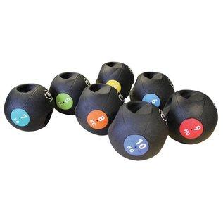 FITNESS MAD Medicine Ball Double grip uit een stuk gegoten Rubber 5kg Zwart