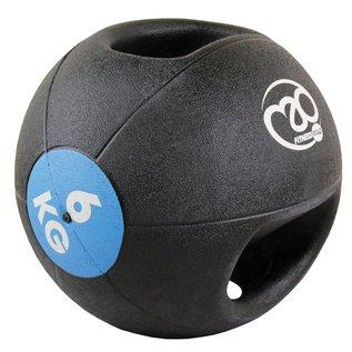 FITNESS MAD Medicine Ball Double grip uit een stuk gegoten Rubber 6kg Zwart