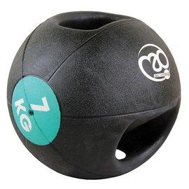 FITNESS MAD Medicine Ball Double grip uit 1 stuk gegoten Rubber 7kg Zwart