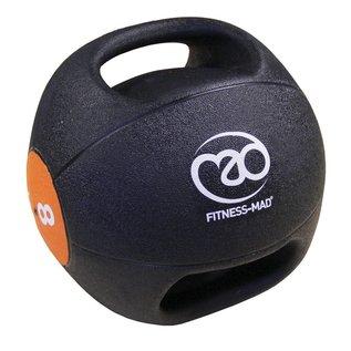 FITNESS MAD Medicine Ball Double grip uit een stuk gegoten Rubber 8kg Zwart