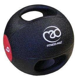 FITNESS MAD Medicine Ball Double grip uit 1 stuk gegoten Rubber 9kg Zwart