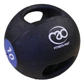 FITNESS MAD Medicine Ball Double grip uit 1 stuk gegoten Rubber 10kg Zwart