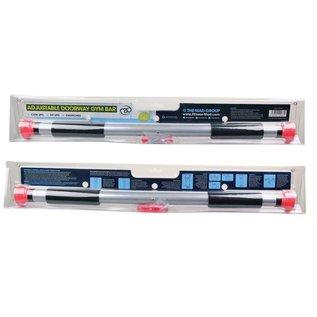 FITNESS MAD Deluxe Gym Doorway Chinning Bar 63 - 100 cm (max 100kg) deurrekstok inclusief trainingsinstructies Soft Grip Zilver