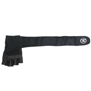 FITNESS MAD Weight Lifting Glove Pro wrist wrap leer Suede 5mm foam core wrap 50mm Maat L Zwart