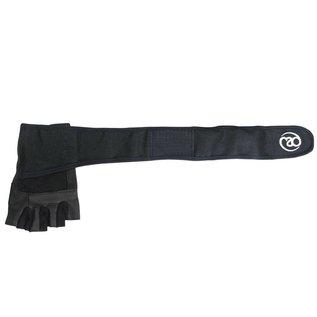 FITNESS MAD Weight Lifting Glove Pro wrist wrap leer Suede 5mm foam core wrap 50mm Maat S Zwart