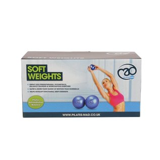 FITNESS MAD Soft Weights Yoga Pilates toning ball 2kg (2 x 1.0Kg) 12cm bal Blauw