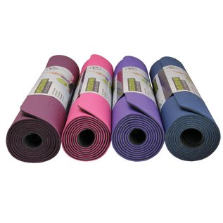 FITNESS MAD Evolution Yoga Mat 183 x 61 x 0.4 cm (1kg) super soft hygienisch TPE draagriem tweekleurig Blauw Grijs