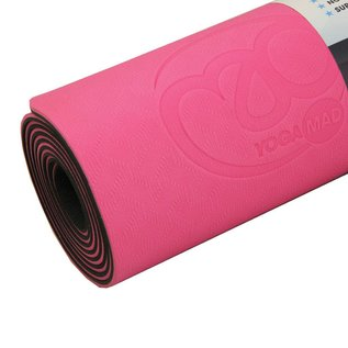FITNESS MAD Evolution Yoga Mat 183 x 61 x 0.4 cm (1kg) super soft hygienisch TPE draagriem tweekleurig Roze Grijs