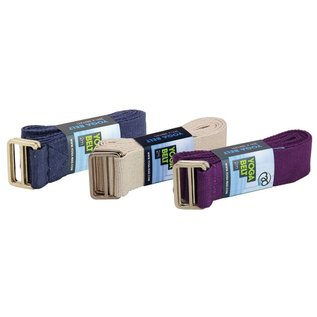 FITNESS MAD Lichtgewicht Yoga Belt 2m (38mm breed) 100% katoen D Ring Blauw