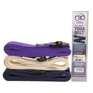 FITNESS MAD Lichtgewicht Yoga Belt 2m (38mm breed) 100% katoen D Ring Naturel