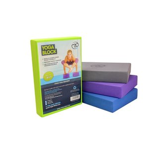 FITNESS MAD Full Yoga Block 305 x 205 x 50 mm yoga blok met afgeschuinde randen hoogwaardig EVA Blauw