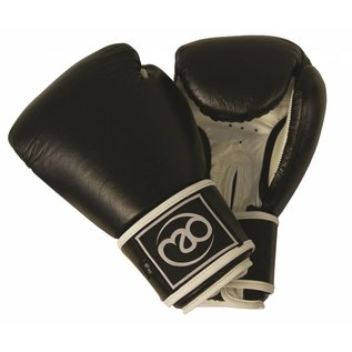FITNESS MAD Leather sparring gloves Kick- Bokshandschoenen Leer 14oz Zwart Wit