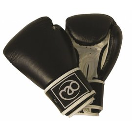 FITNESS MAD Leather Pro sparring gloves 16oz Black white