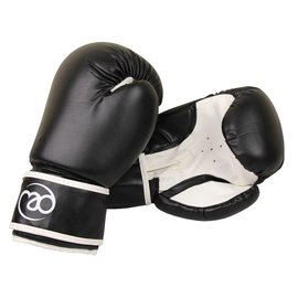 FITNESS MAD Junior PVC Sparring Gloves Kick- Bokshandschoenen Junior Synthetish leer 6oz Zwart Wit