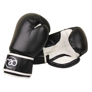 FITNESS MAD Synthetic Leather Sparring Gloves 14oz Black white