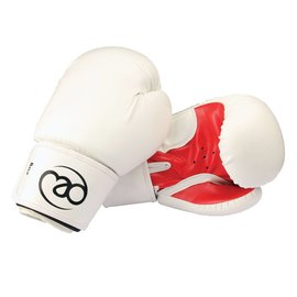 FITNESS MAD Womens fit Synthetic Leather Sparring Gloves 8oz White red