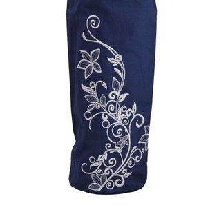FITNESS MAD Wildflower Yoga Mat Bag Large 80 x 14.5cm 100% katoenen draagtas opbergvak draaggordel voor extra wide matten tot 183 x 80 x 0.6 cm Blauw