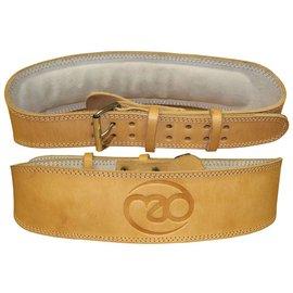 FITNESS MAD Pro Leather Weight Lifting Support Belt ergonomische pasvorm leer Maat L (95-111cm) Naturel