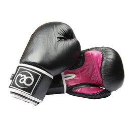 FITNESS MAD Women Leather Sparring Gloves Kick Black pink