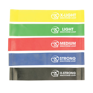 FITNESS MAD Fitness Resistance Band Set 5 Strengths Loops 35 cm Latex - with packaging