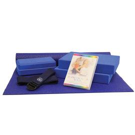 FITNESS MAD Studio Yoga Set mat 4mm 183x61cm 2x block 30.5x20.5x5cm 1 brick 21.5x11x7cm belt 2m x 38mm DVD (Engels)
