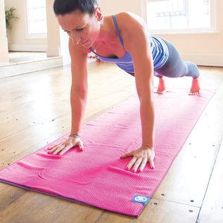 FITNESS MAD Fitness Mad Yoga mat handdoek anti slip 183cm Roze Grip Dot Yoga Mat Towel 183x60 cm met siliconen grip dots (phthalate vrij) ideaal voor studio of op reis