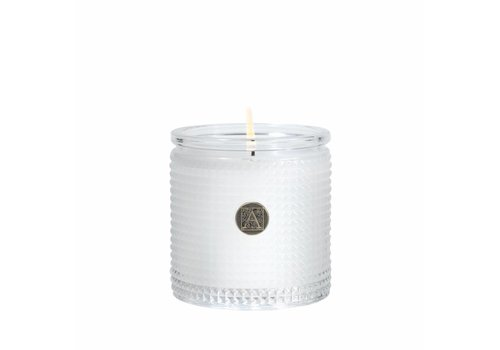 White Teak & Moss Textured Glass Candle