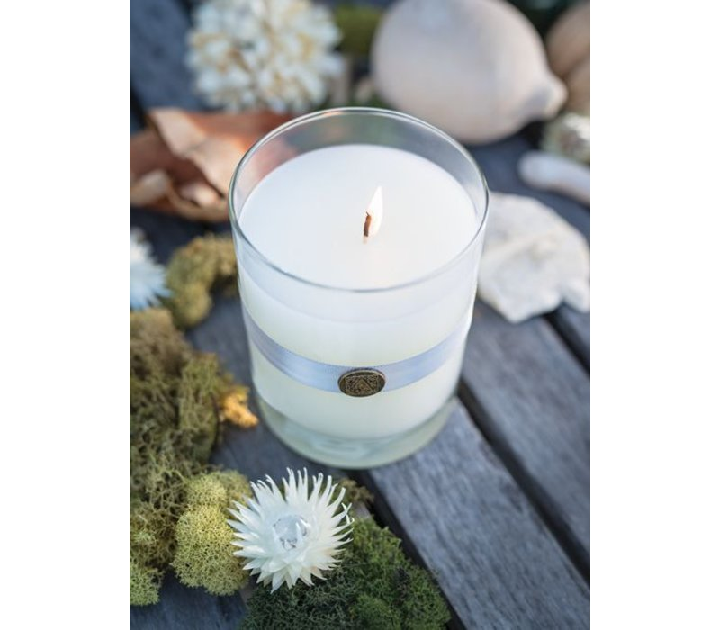 White Teak & Moss Candle in Glass
