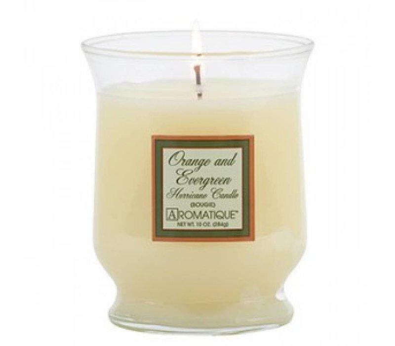 Orange & Evergreen Hurricane Candle, Small