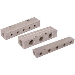 AIR-PRO AIR-PRO - Dubbel verdeelblok - aluminium - 1/4'' Inlaat - 1/8'' uitgang