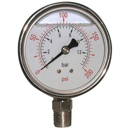 "AIR-PRO Glycerine manometers - Male 1/4"" - Ø 63 mm RVS kast"