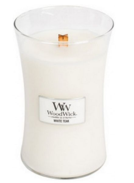 Woodwick WoodWick Large Candle White Teak