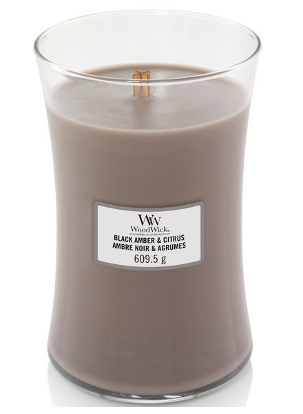 Woodwick Large Black Amber & Citrus