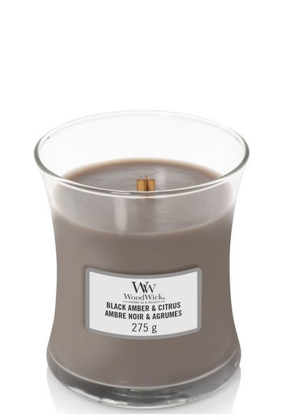 Woodwick Medium Black Amber & Citrus
