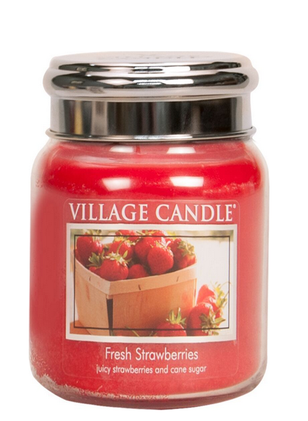 Village Candle Fresh Strawberries Medium Jar
