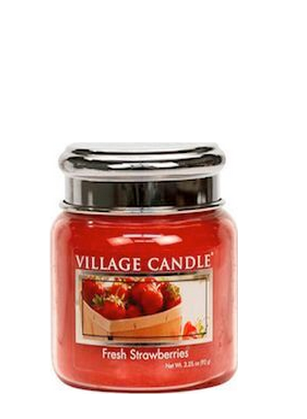 Village Candle Fresh Strawberries Mini Jar