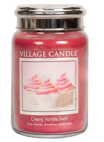 Village Candle Cherry Vanilla Swirl Large Jar