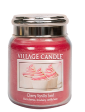 Village Candle Cherry Vanilla Swirl Medium Jar