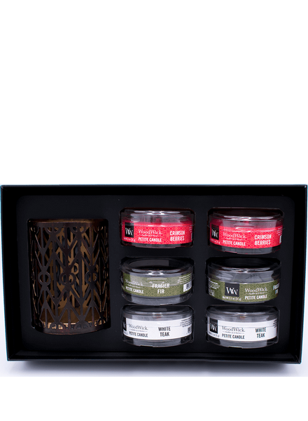 Woodwick Woodwick Gift Set Deluxe Petite Candles & Candle Holder Winter