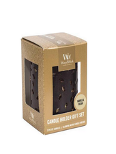 Woodwick Gift Set Glowing Leaf Holder Vanilla Bean