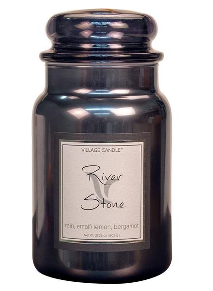 Village Candle River Stone Metallic Large Jar
