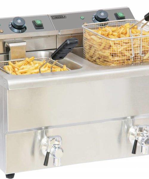 Casselin Elektrische friteuse aftapkraan 2 x 8 liter