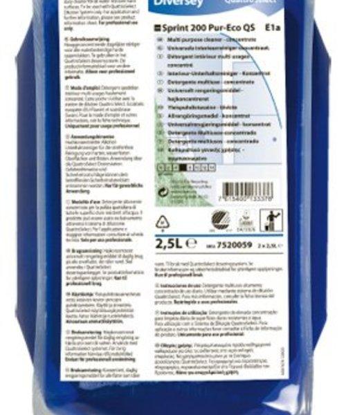 Diversey Taski Sprint 200 Pur-Eco QS. 2 x 2,5 ltr