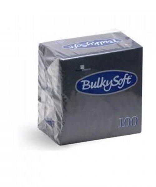 Bulky Soft Servetten 2 Laags 40 x 40 - 1/4 Vouw - Zwart - 100 x 20 stuks per doos