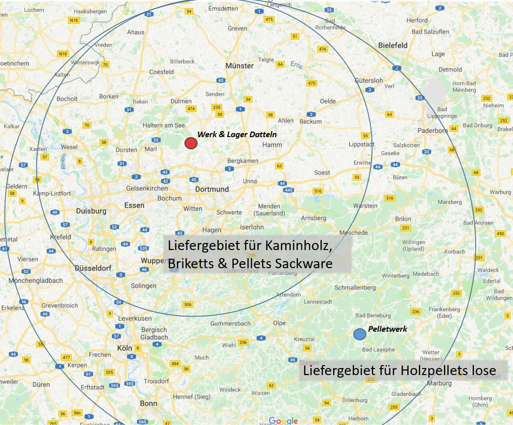 Liefergebiet ENergieholz Vest Kaminholz Briketts Pellets