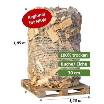 Trockenes Kaminholz - Premium Hartholzmix - Buche/Eiche- 2 SRM (700 kg) auf Palette verpackt